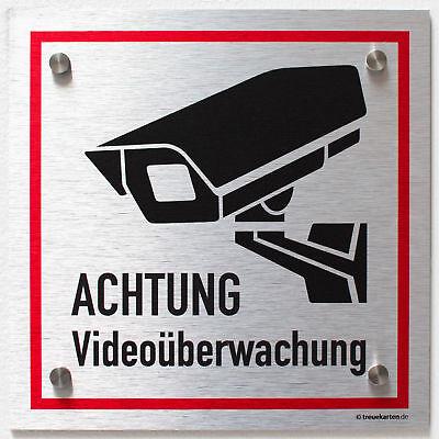 Schild Videoüberwacht 30x20 cm Videoüberwachung Warnschild silber Aluverbund 20 X Video