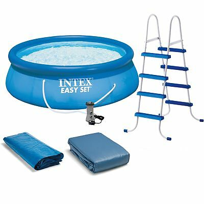 "Intex 15' x 48"" Easy Set Above Ground Inflatable Family Swimming Pool w/ Pump"