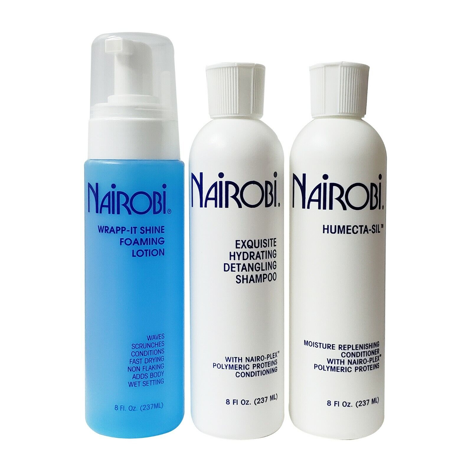 Nairobi Hydrating Shampoo / FoamWrap Lotion / Humecta-Sil Conditioner 8 Oz. SET Hair Care & Styling