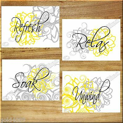 YELLOW and GRAY Wall Art Bathroom Flower Floral Prints Decor Relax Soak UNFRAMED