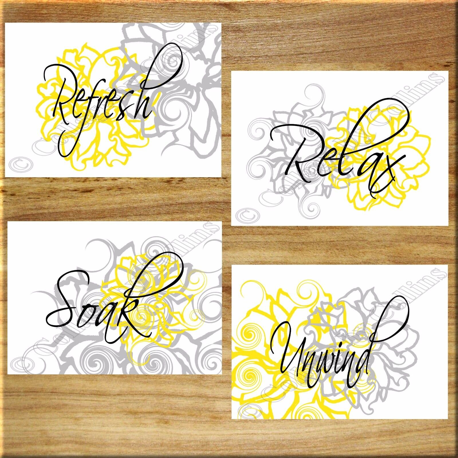 YELLOW and GRAY Wall Art Bathroom Flower Floral Prints Decor