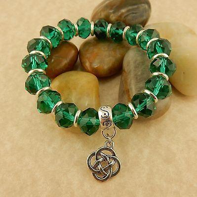 (Silver Irish Celtic Knot stretch beaded crystal bracelet, pink, green or purple)