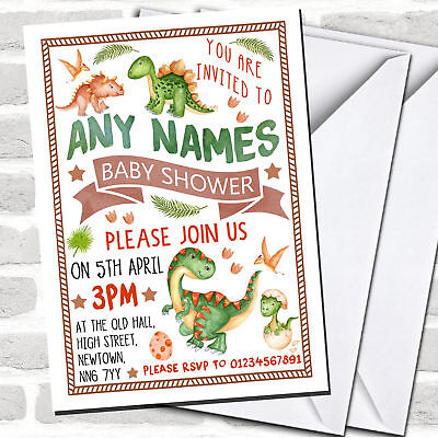 Cute Dinosaur Watercolour Baby Shower Invitations - Cute Invitations