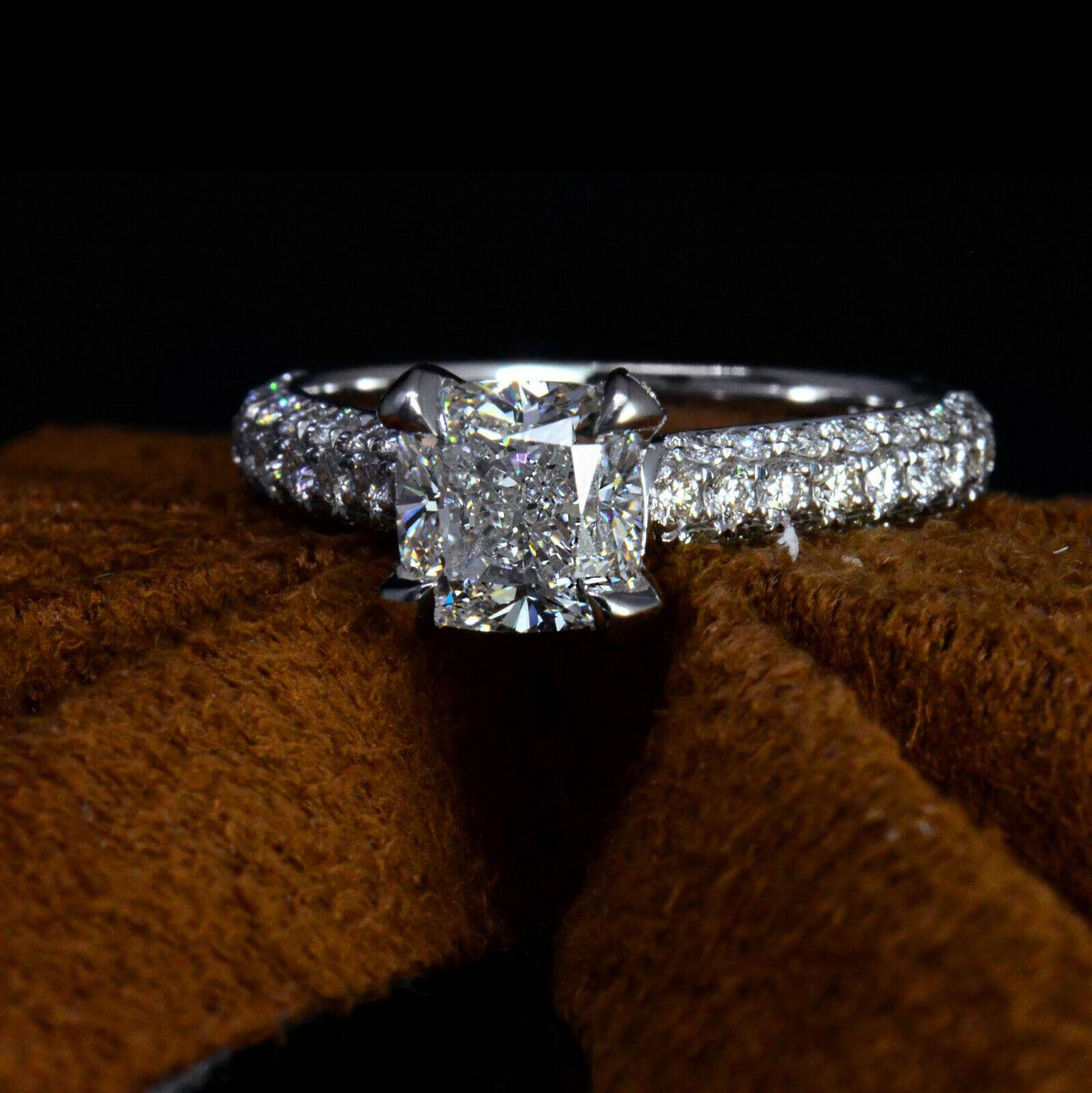 3.10 Ct Cushion Cut Diamond Engagement Ring Round Cut Micro Pave H,VS1 GIA 14K 2