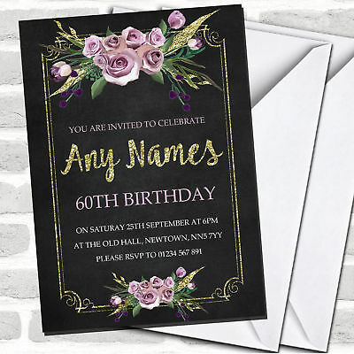 Chalk Effect Pink Gold Floral 60th Birthday Party Invitations](60 Birthday Invitations)