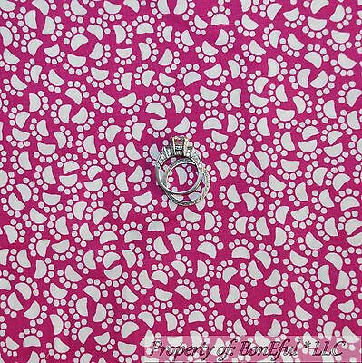 BonEful FABRIC FQ Cotton Quilt Pink White Dog Dot Kitty Cat Mouse Paw Print Girl Fabric Small Cat Collar