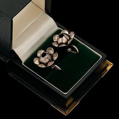 1920s Art Deco Jewelry: Earrings, Necklaces, Brooch, Bracelets Antique Vintage Art Deco Sterling Silver Repousse Floral Flower Cluster Earrings $28.00 AT vintagedancer.com