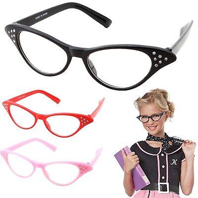 Hip Hop 50s Shop Child Cat Eye Glasses Poodle Skirt Halloween Costume Accessory - Hip Hop 50s Shop