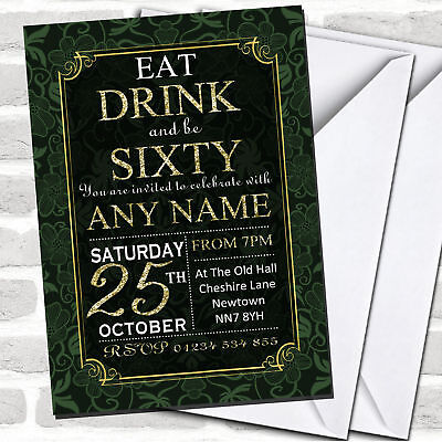 Flower Birthday Party Invitations (Green & Gold Flowers 60th Birthday Party)