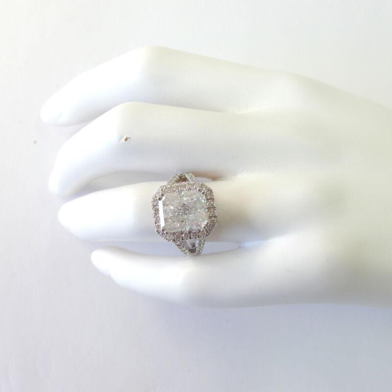5 Ct Diamond Halo Ring Promise Cushion Shape Vs2 14 Karat White Gold 8 Prongs