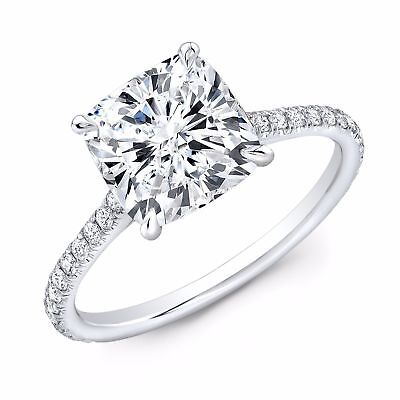 1.10 ct. Cushion Cut Natural Diamond U-Pave Engagement Ring GIA E, VS2 14k White 1