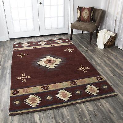 Southwestern Tribal Plush Hand Tufted Wool Burgundy Area Rug **FREE SHIPPING** ()