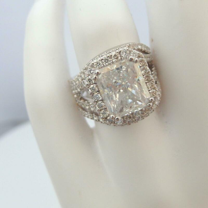 Vs D Ladies Halo Diamond Ring Colorless 5.5 Ct 14k White Gold Estate Bands Set