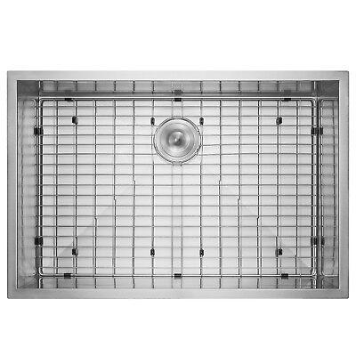 "33"" x 22"" x 9"" 18 Gauge Stainless Steel Undermount Sink Dish Grid w/ Drain Kit"
