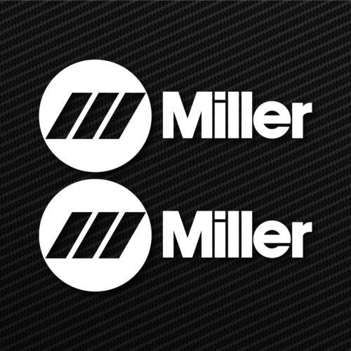 2X MILLER WELDER WIDE DECAL STICKER 3M  USA MADE SET OF 2 WHITE VINYL