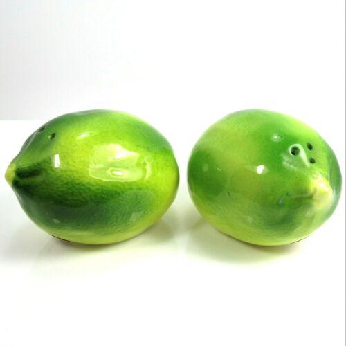 Pair Inarco Ceramic Fruit Limes Salt Pepper Shakers Vintage Kitchen Kitsch Japan