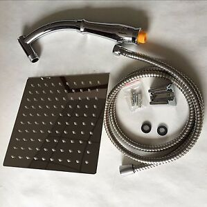 Large Square Stainless Steel Shower Head Extension with Shower Arm and Hose Kit