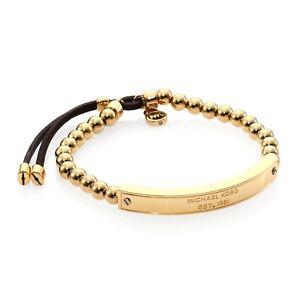 Michael Kors Gold Heritage Plaque Logo Beaded Leather Bracelet