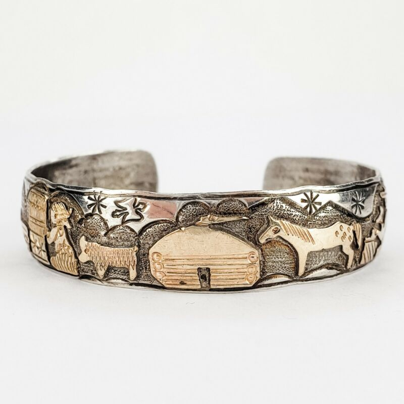 Vintage Navajo TA BEGAY Storyteller Bracelet Sterling Silver 1/20th 12K GF