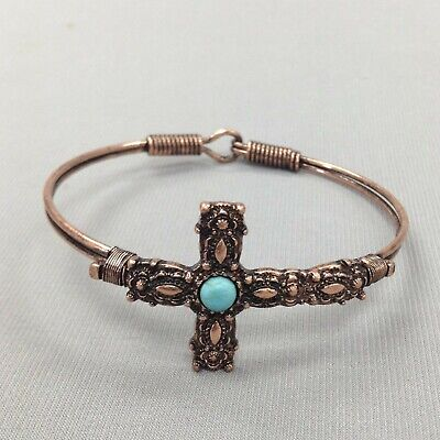 Antique Religious Cross Design Turquoise Bead Copper Finish Hook Bangle Bracelet Aquamarine Religious Cross