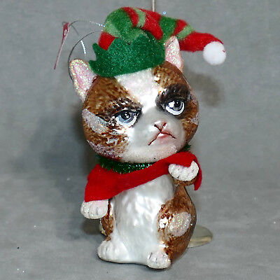 "Christmas Ornament Glass Animal Cat POLONAISE MANEKI NEKO LUCKY 5"" USA SELLER"