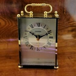 Vintage OSAWA Brass Carriage Clock Quartz Movement made in Japan Desk / Tabletop