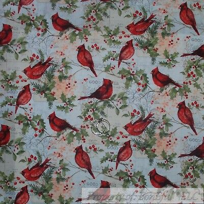 BonEful Fabric FQ Cotton Quilt Red Cardinal Bird Xmas Winter Scenic Tree Branch