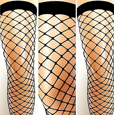 Netzstrümpfe Strapsstrümpfe Schwarz (Nylon Netz-Strümpfe halterlos Strapse schwarz große Masche Kostüm Stockings S-L)
