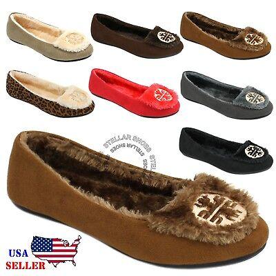 New Womens Moccasins Suede Sheepskin Fur Slip-on Indoor Outdoor Loafer Shoes