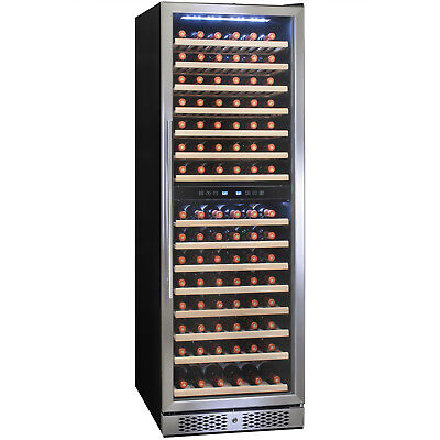 160 Bottle Dual Zone Freestanding Compressor Electric Wine Cooler Refrigerator