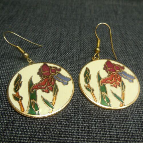 Cloisonné Earrings Vintage Iris Floral Gold Tone Dangle Round