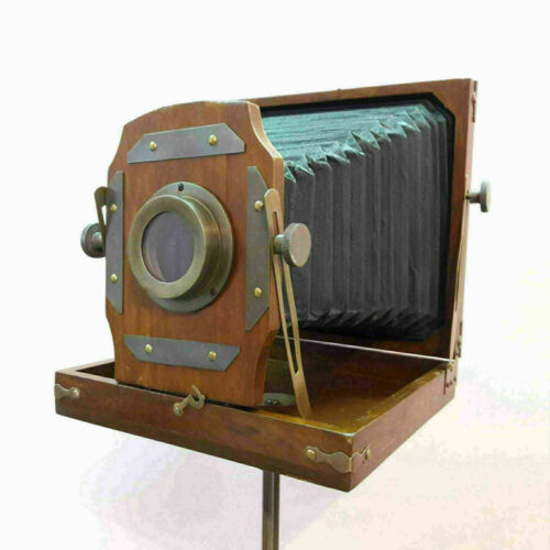 Antique vintage style folding camera on wooden tripod stand decorative good gift