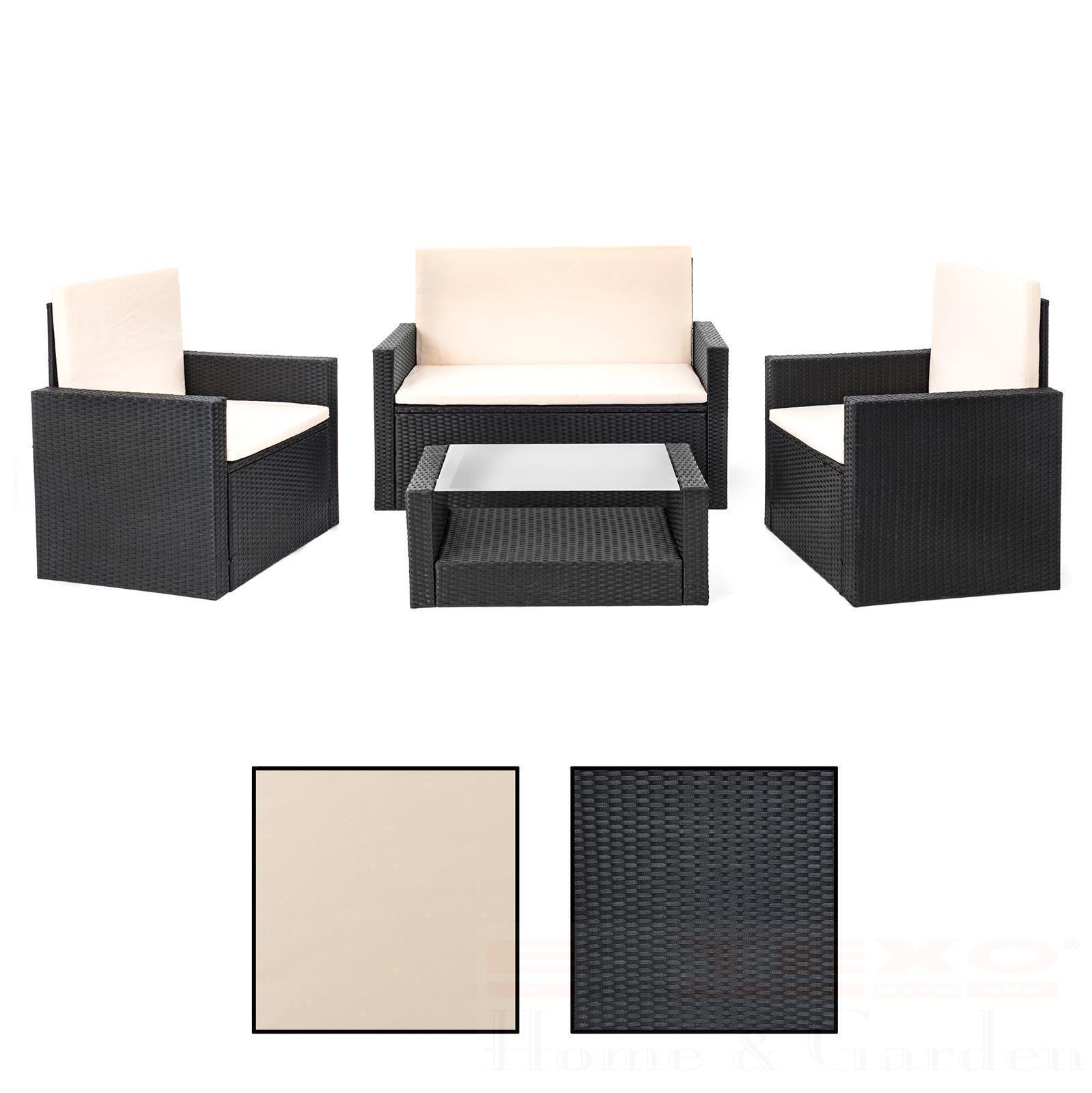 Poly Rattan Sitzgruppe Schwarz Gartenmöbel Gartengarnitur Lounge Set ...