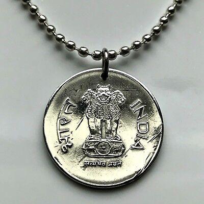 2001 India Rupee coin pendant Ashoka lions Sarnath Mumbai New Delhi hindu 002325
