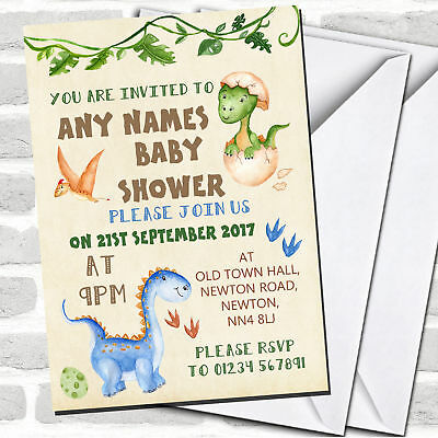 Watercolour Cute Dinosaur Boy Baby Shower Invitations](Cute Baby Shower Invitations)