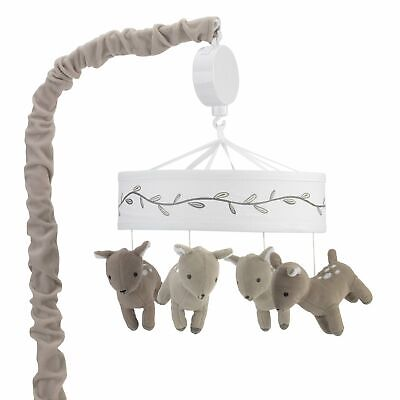Lambs & Ivy Meadow White/Taupe Deer and Leaf Musical Baby Crib Mobile