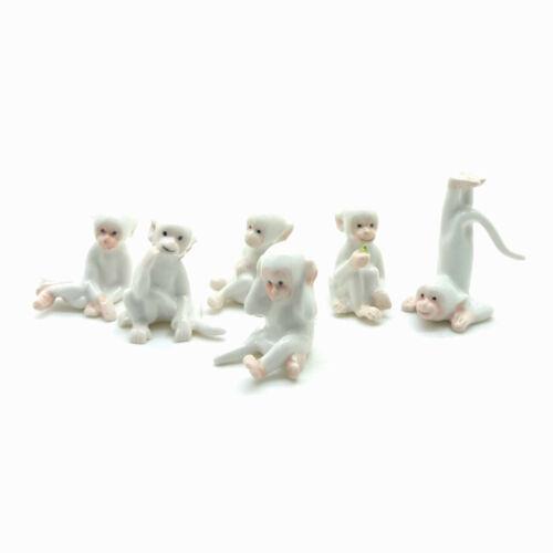 6 White Monkey Figurine Ceramic Animal Statue - CWM001
