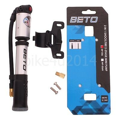 Gauge 100psi CAH-033AG Beto Two-Way Alloy Mini Cycle Road Bike Tyre Tube Pump