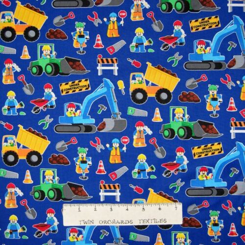 Cotton Fabric - Timeless Treasures Consctruction Worker Equipment - 2.50 Yard