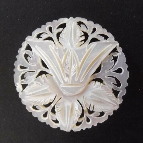 Beautiful Carved Bethlehem Pearl Lily Flower Button 1-1/2inch