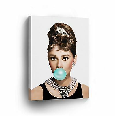 Audrey Hepburn Chewing Gum on Canvas Photo Wall Art Prints Framed