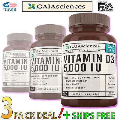 3 Bulk Gaia Sciences D3 5000 Iu Soft gels Organic Prenatal Vitamins Best (Best Vegan Prenatal Vitamins)