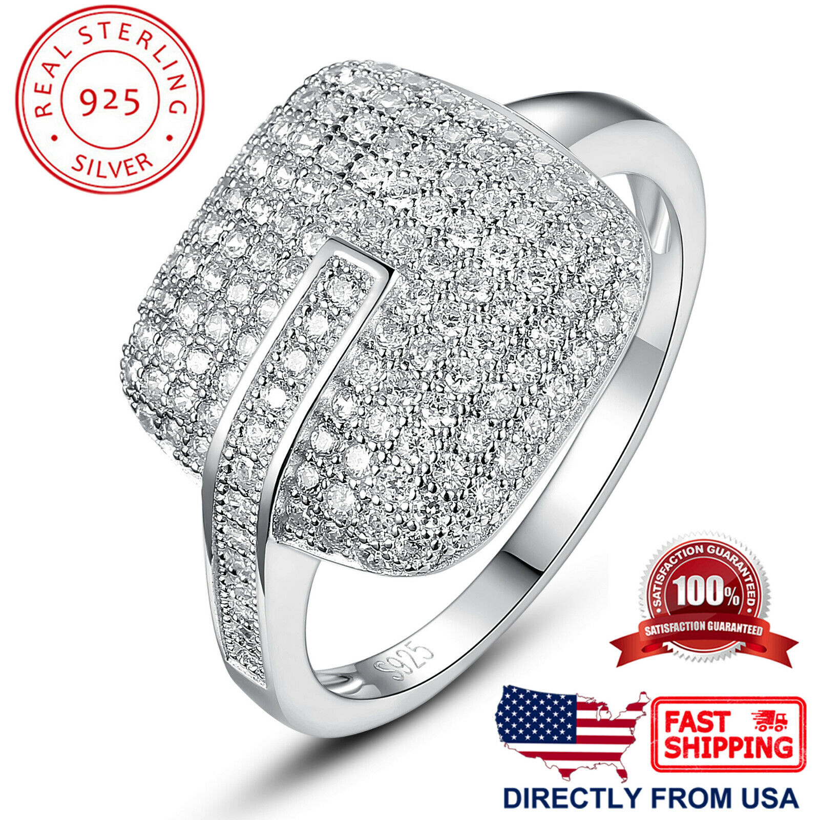 Women's Sterling Silver Square Cushion Micro Pave Cubic Zirconia Cocktail Ring Fine Jewelry