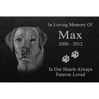 "LASER PHOTO ENGRAVED Slate headstone desire PET GRAVE MARKER 12"" x 8"" - Dog -045"