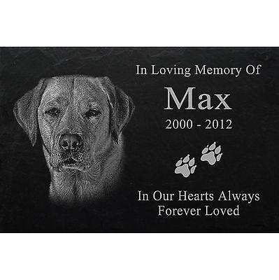 "LASER PHOTO ENGRAVED Slate headstone desire PET GRAVE MARKER 12"" x 8"" - Dog -045"