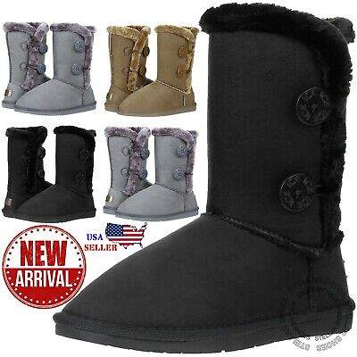 New Womens Button Faux Fur Boots Suede Mid Calf Snow Winter Warm Sheepskin Boots Faux Sheepskin Boot