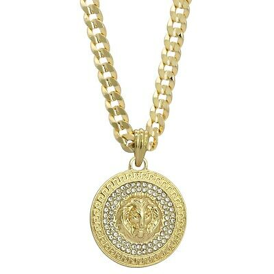 Mens 14k Gold Plated Cz LION MEDALLION Pendant Hip-Hop 6mm 30