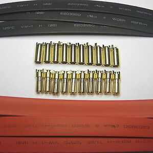 RC Gold Bullet 5.5mm Connector Plug + 8mm Heatshrink  x 10 Sets suits 10AWG