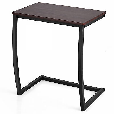 Sofa Side End Table C-shaped Coffee Tray Laptop Snack Stand with Steel Frame