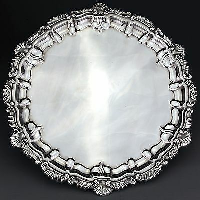 Antique Solid Sterling Silver Salver / Card Tray, Chester 1930. 32cm - 980g.